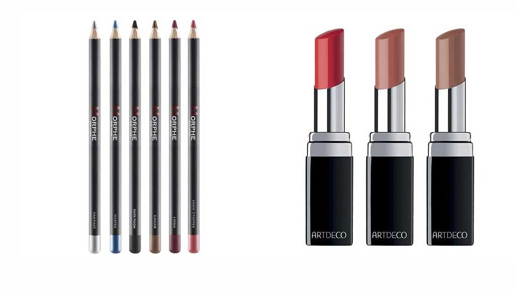 Crayons pour les yeux et lèvres à finition matte et métallique de Morphe plus les rouges à lèvres Artdeco