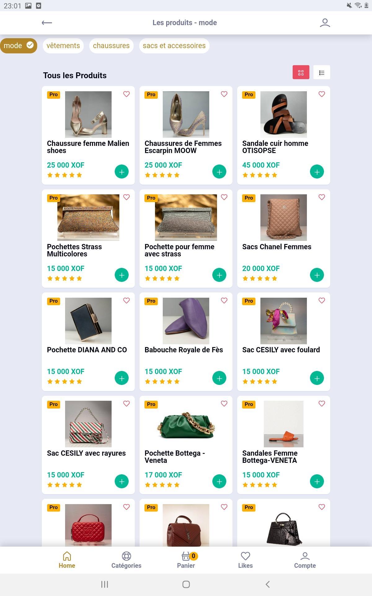 Screenshoot catégories dans sunushopping app